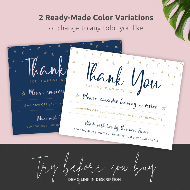 thank you for shopping cards