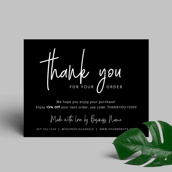 thank you for order card black