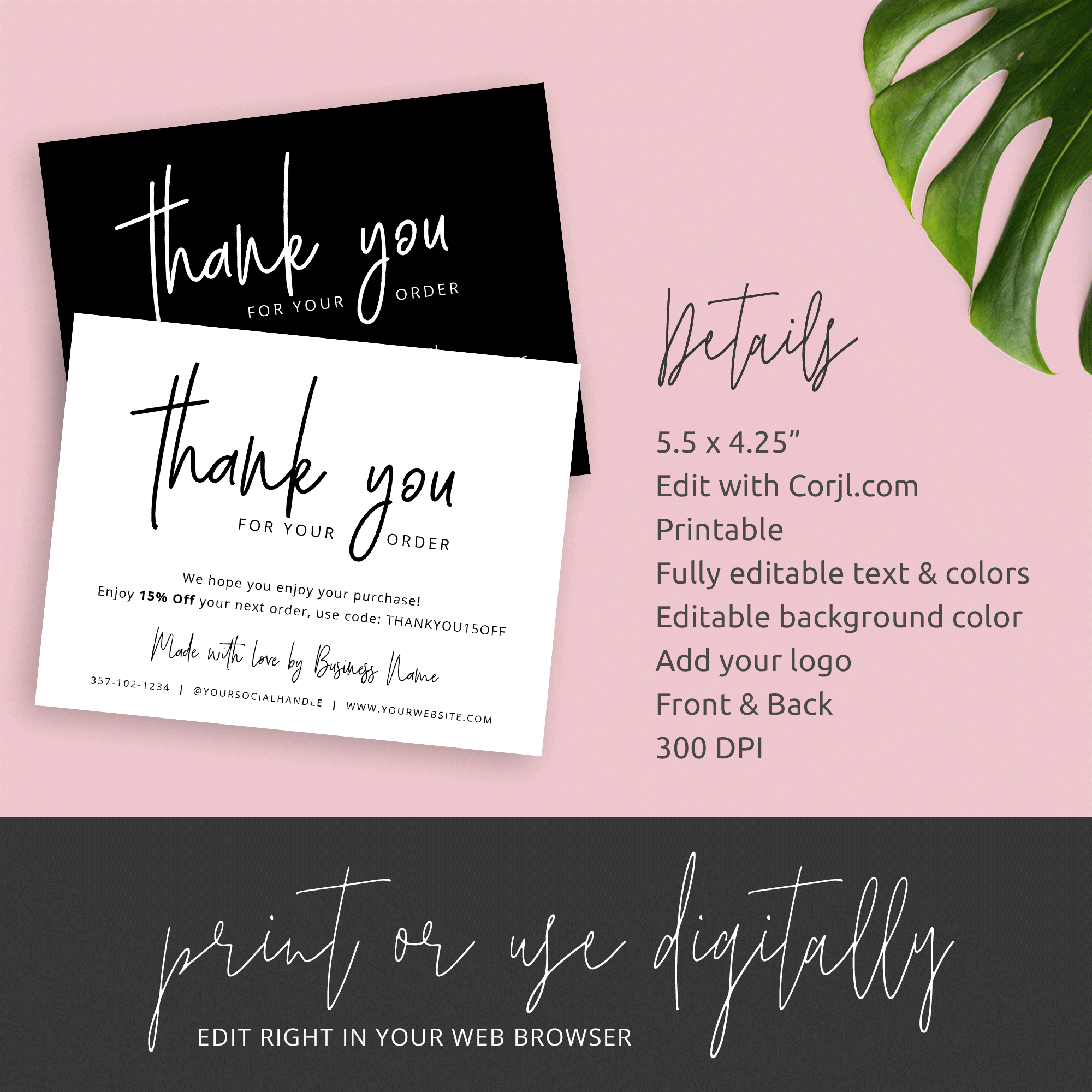 thank you for purchase card  printable customer thank you