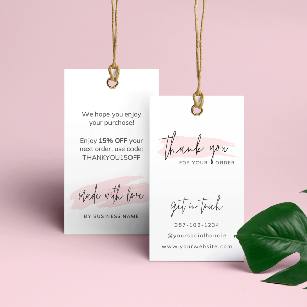 thank you swing tags in minimalist pink watercolor