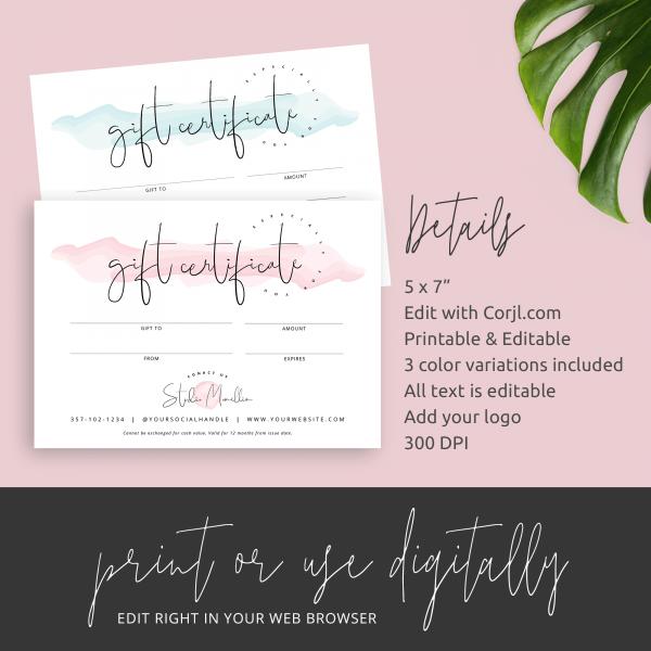 feminine gift certificate template