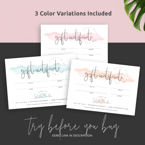 three colours gift cards