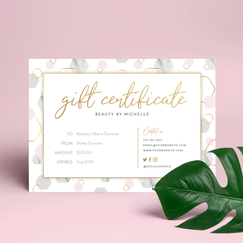 marble and faux gold printable gift certificate template
