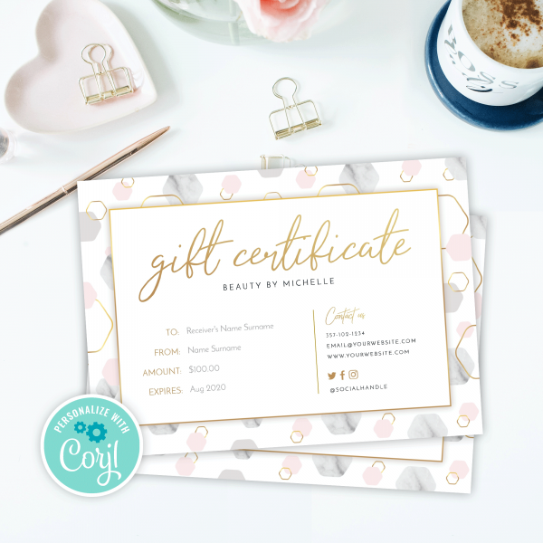 faux gold gift cards