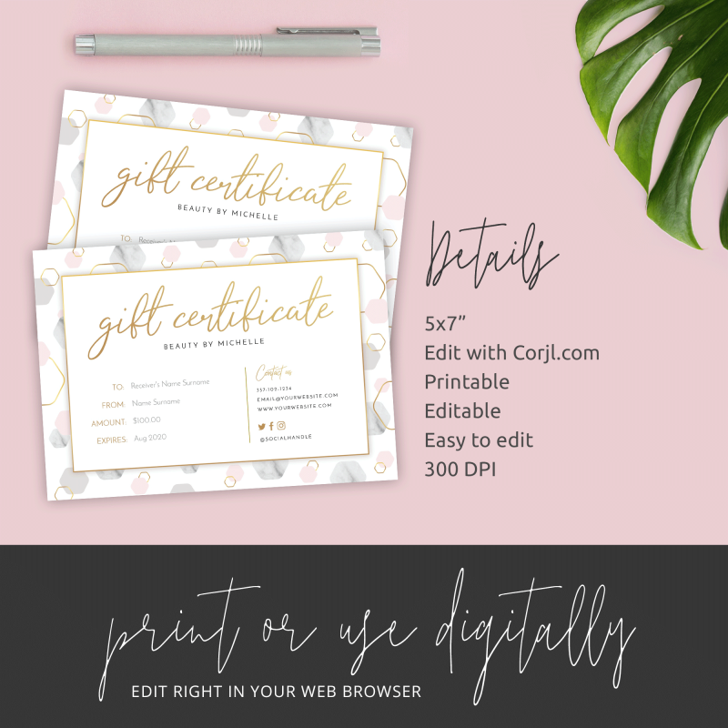 gold and marble gift vouchers