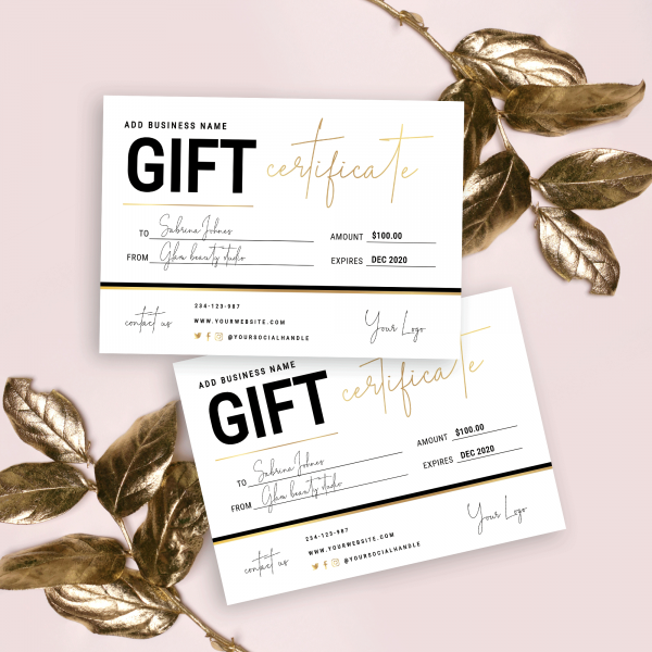 black and faux gold gift certificate template