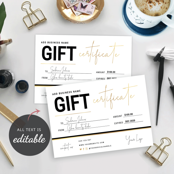editable gold gift card template