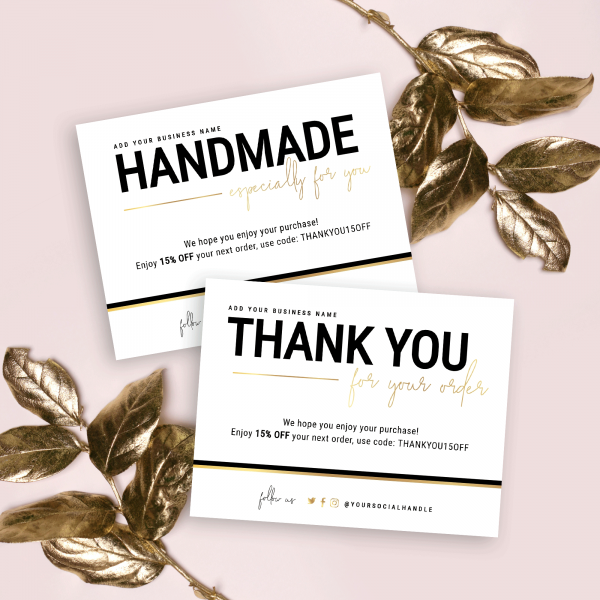 black and gold thank you note and handmade with love card template
