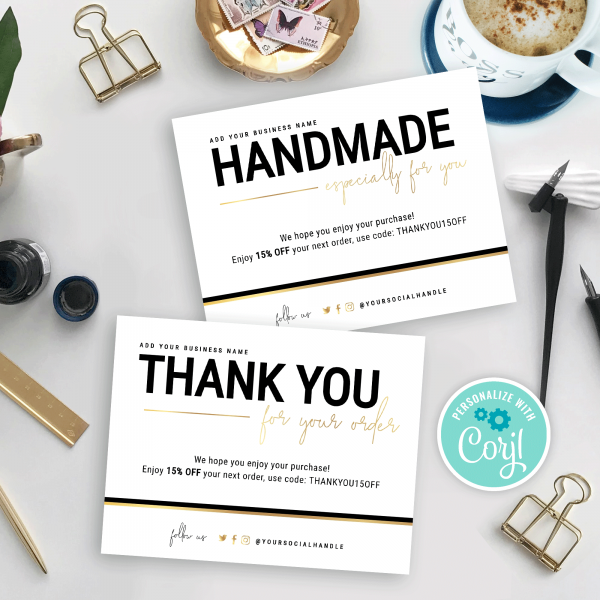 corjl thank you for order card templates