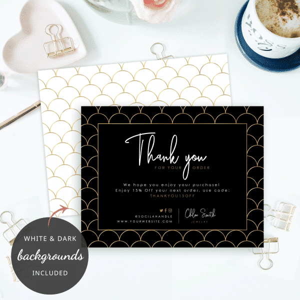 scallop design thank you cards