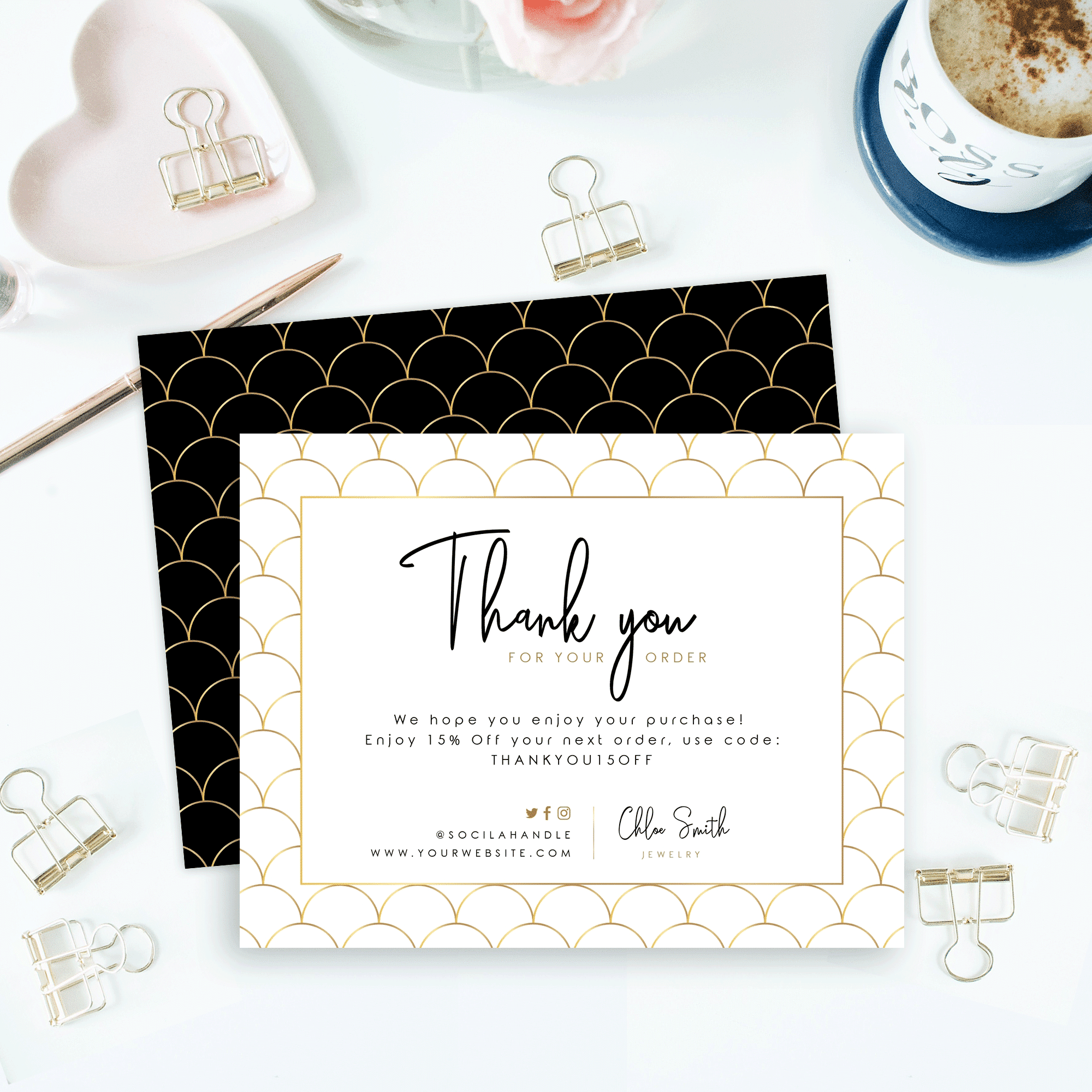 business thank you card  faux gold scallop  design