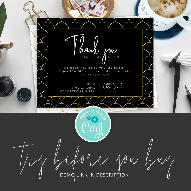 black and gold thank you parcel insert