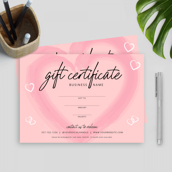 pink gift certificate