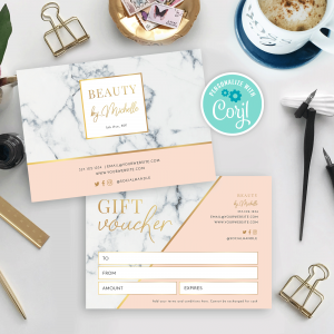 marble and gold salon gift certificate template