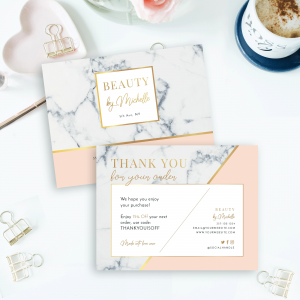 marble and gold business thank you card template