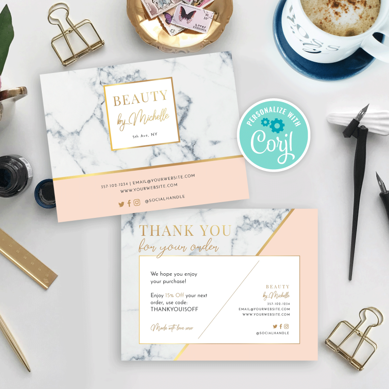 marble and peach business thank you card design
