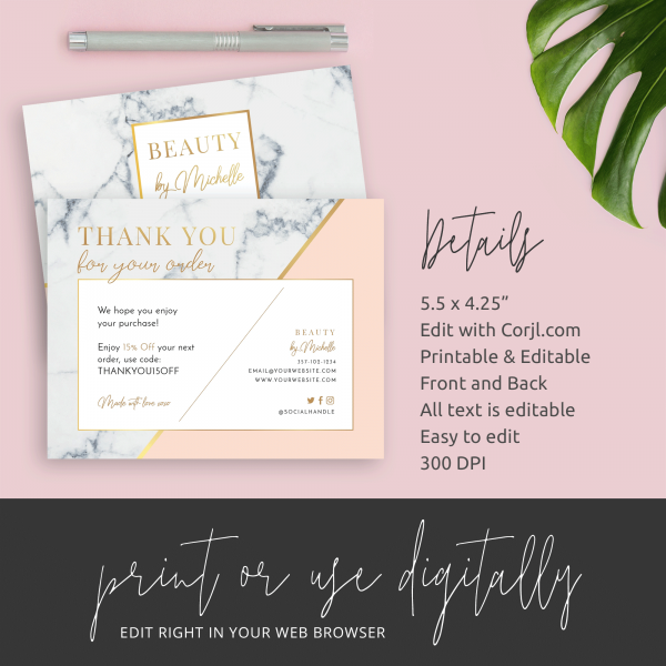 feminine marble business thank you cards