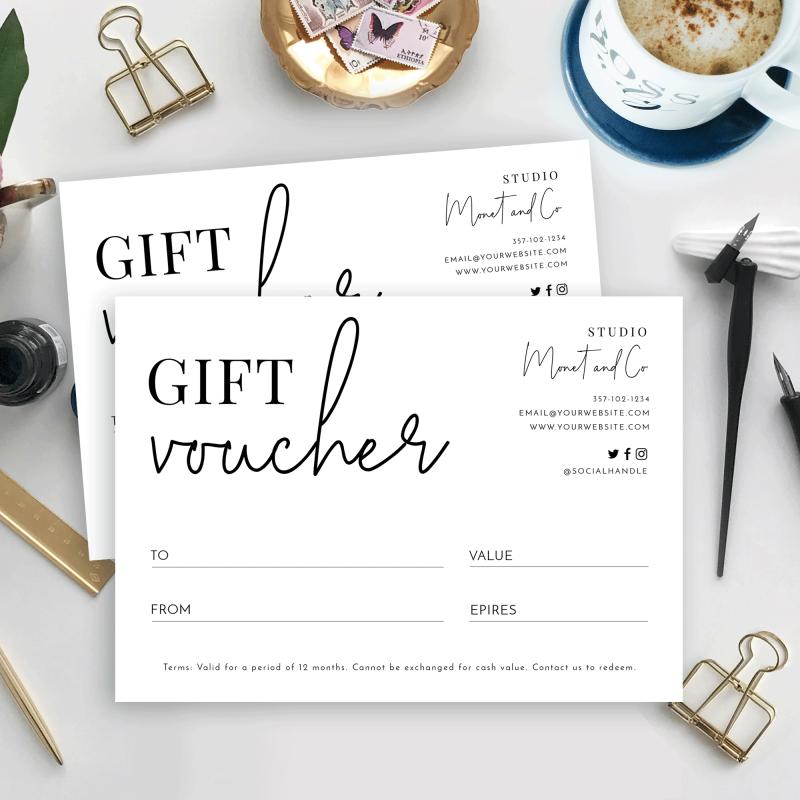 minimalist gift certificate template