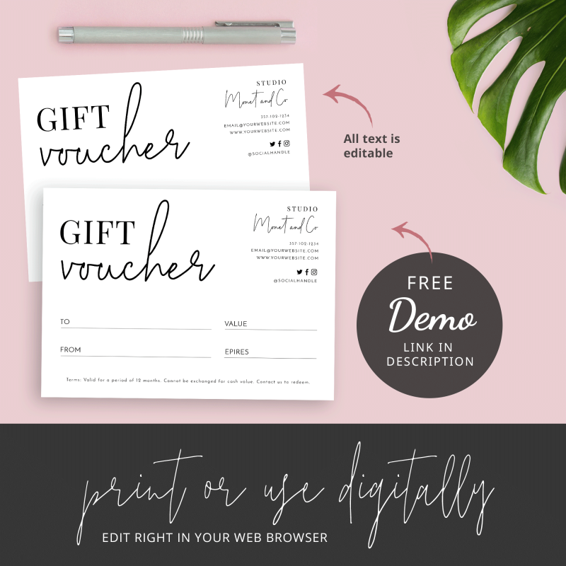 gift certificate black and white