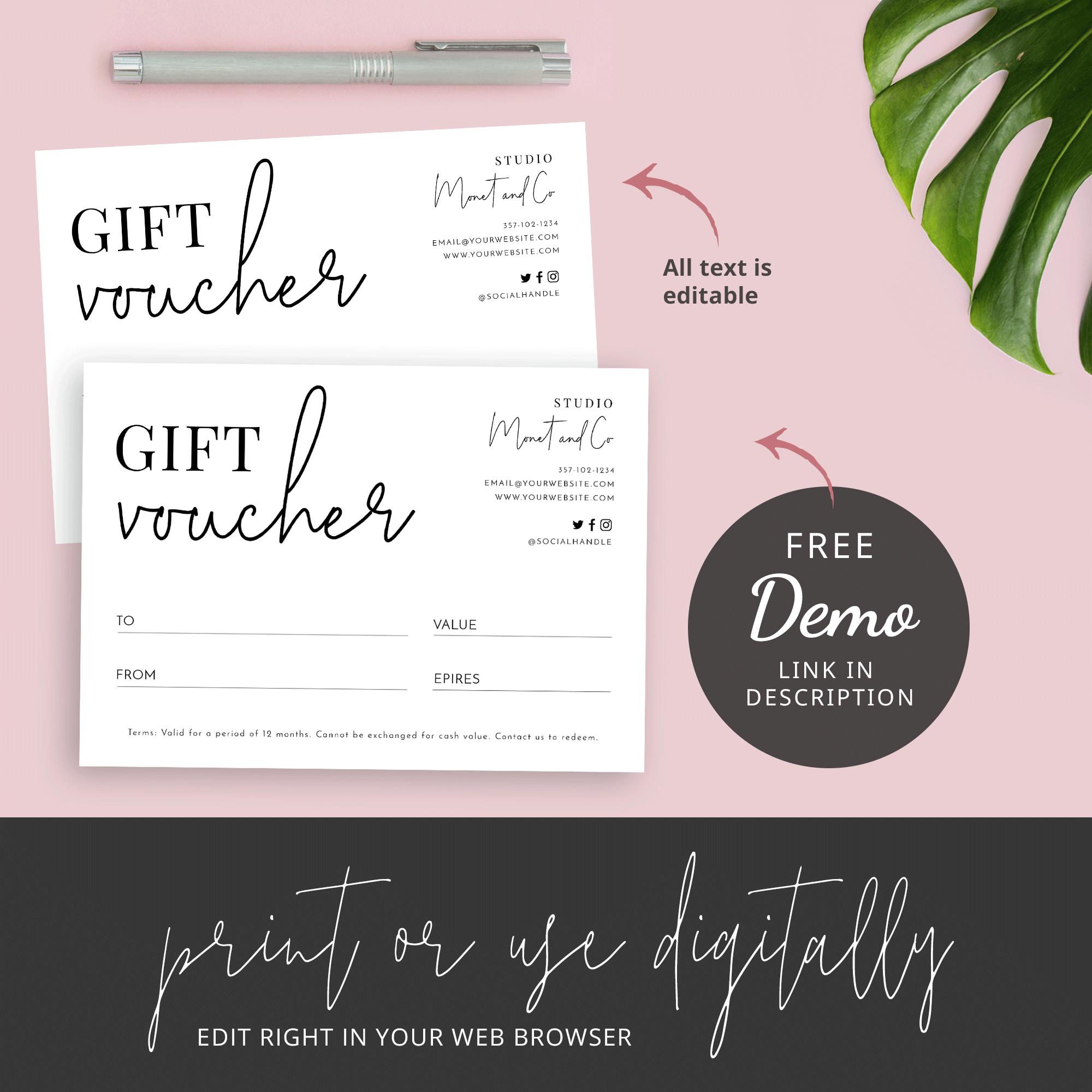 Minimalist Gift Certificate Template Printable Gift Voucher Design Corjl