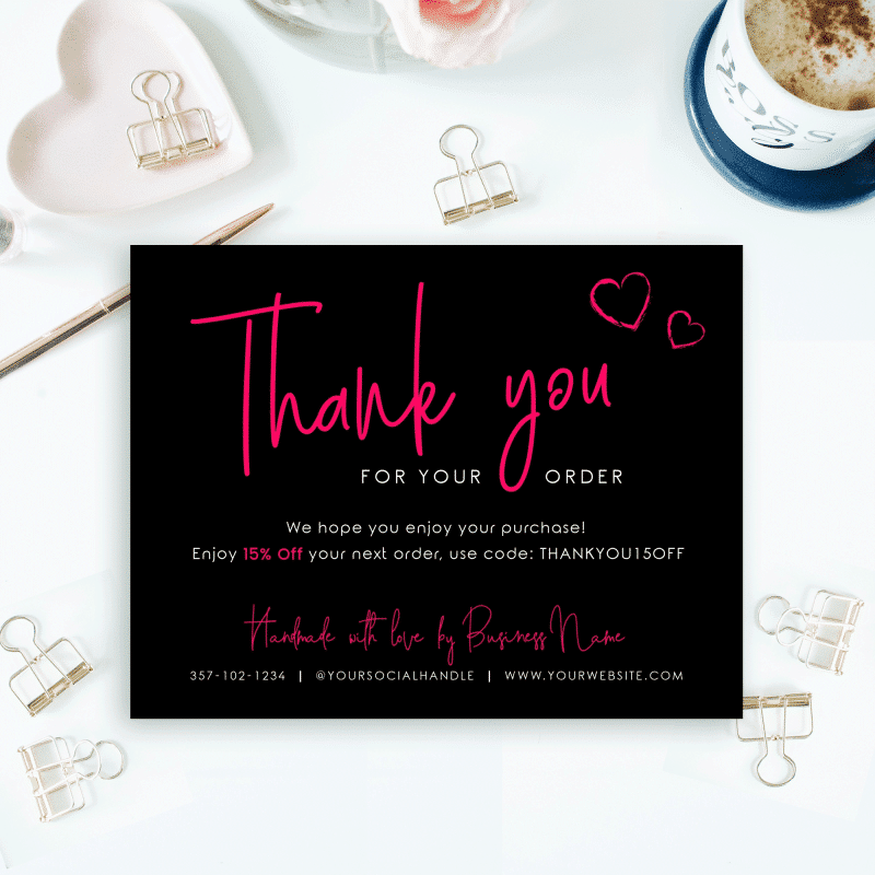 black and pink thank you card template