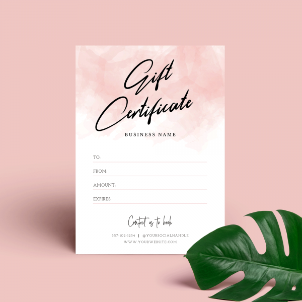 pink watercolour elegant gift voucher template