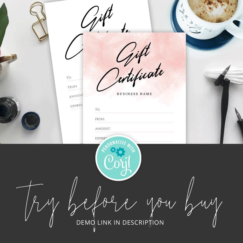 corjl instant download gift voucher