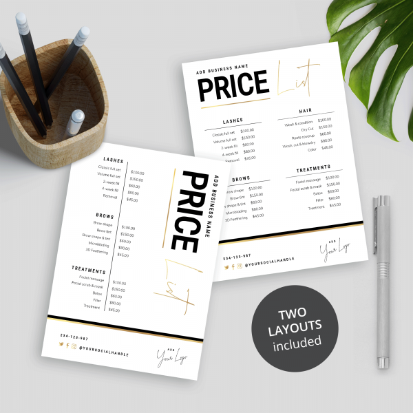 Price List Black & Gold