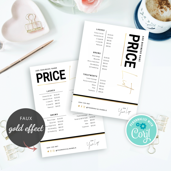 price guide faux gold