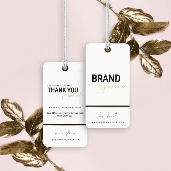 black & gold hang tag with logo