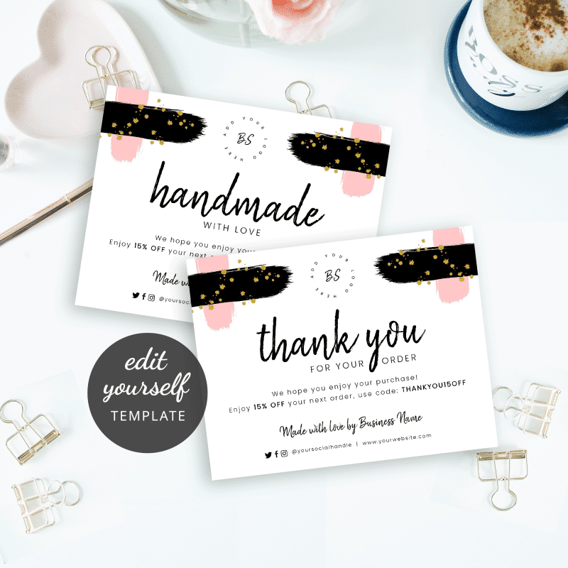 brush and glitter business thank you cards
