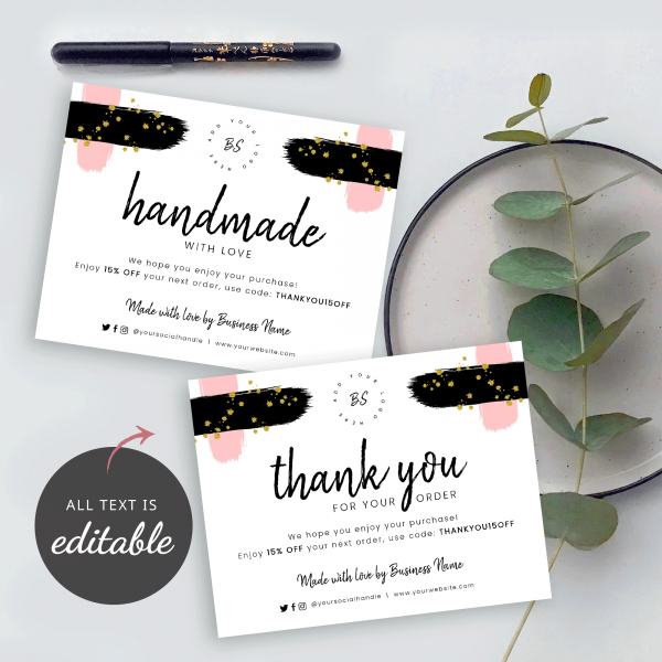 editable text thank you for shopping card