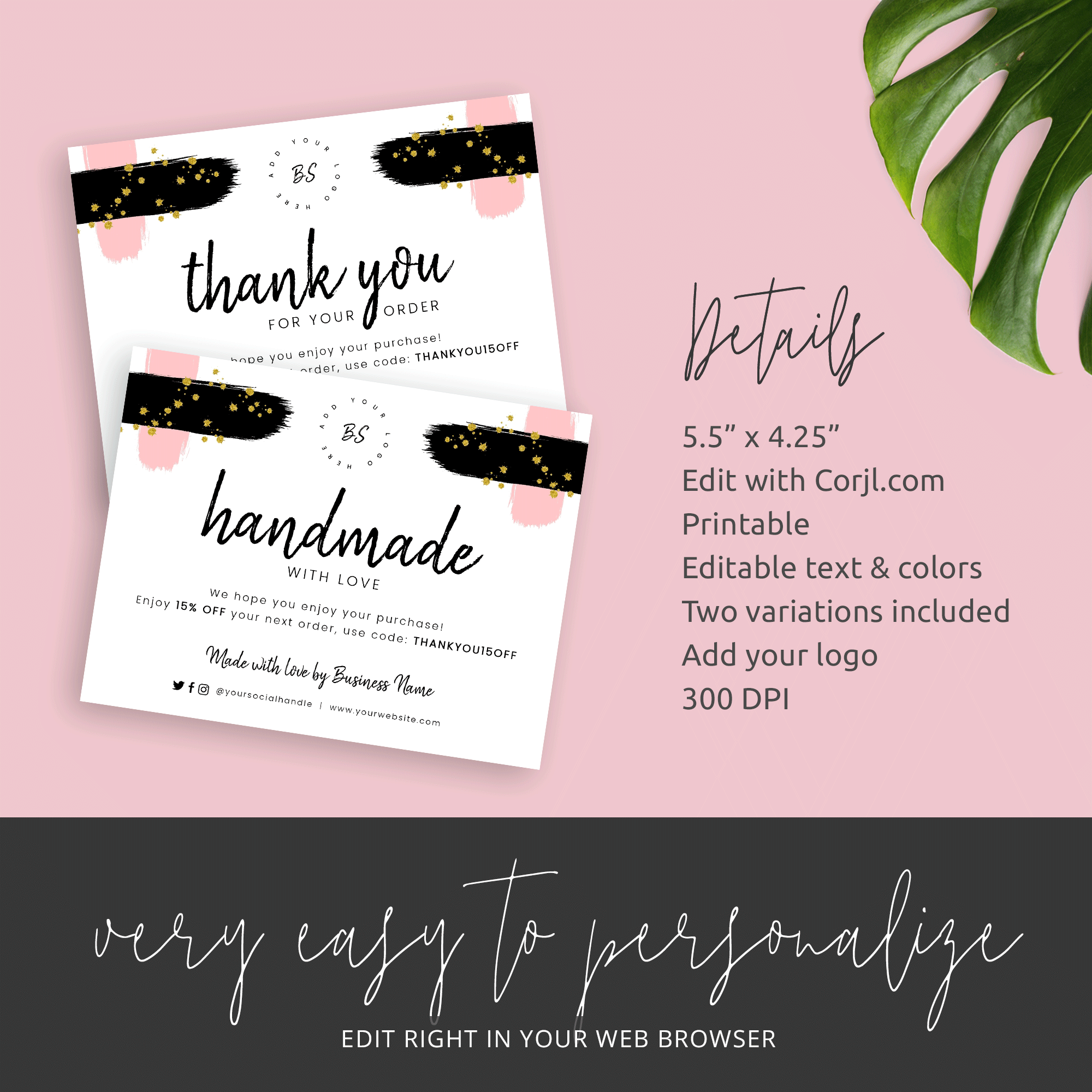 Business Thank You Cards Template - Handmade with Love Inserts