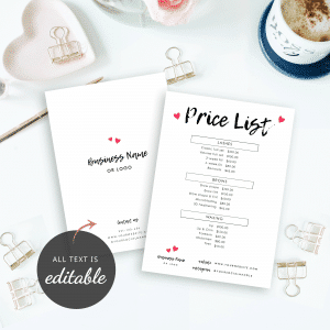 chalk effect pricelist template