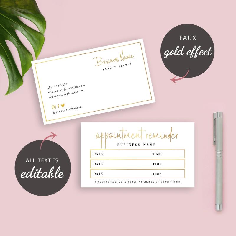 metallic booking reminder card