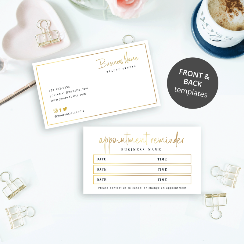 gold customer appointment card