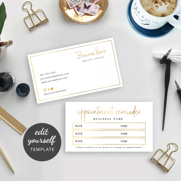 editable appointment reminder salon