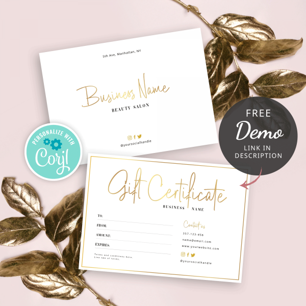 faux gold gift certificate design