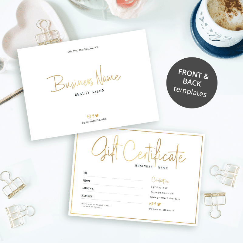 faux gold gift certificate