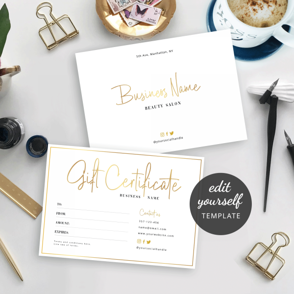 edit yourself gift card template