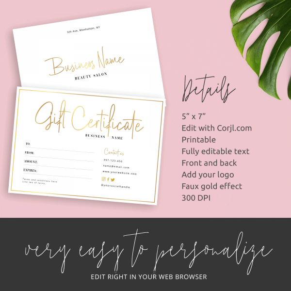 custom gift certificate template details