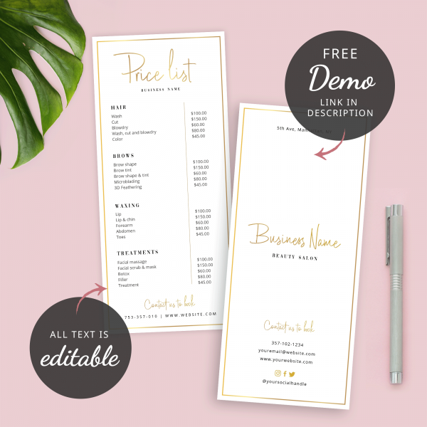 faux gold menu