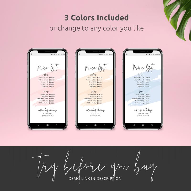 three colours digital price list
