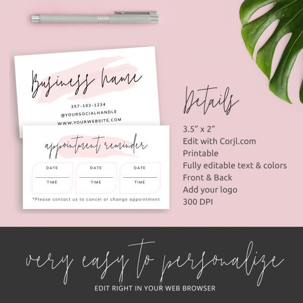 pink brush booking reminder template