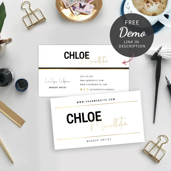 faux gold and black business cards