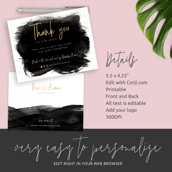faux gold thank you for shopping template