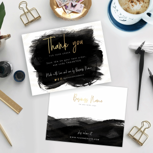 black brush and gold custom thank you cards for orders