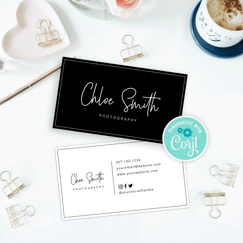minimalist charcoal business card