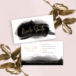 black watercolour and gold business card