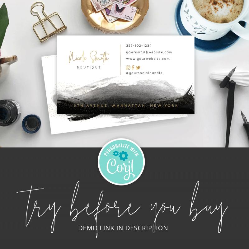 black and metallic business card design